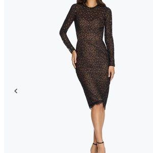 NWT Dress the Population Kay Long sleeve Sheath